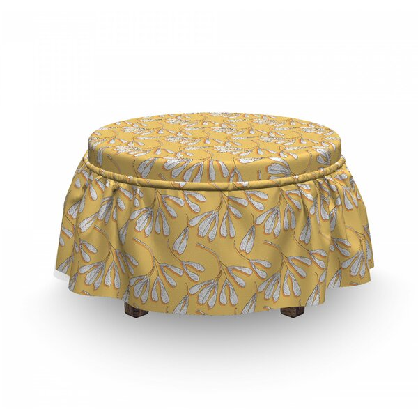 Abstract Maple Seeds Ottoman Slipcover (Set Of 2) By East Urban Home