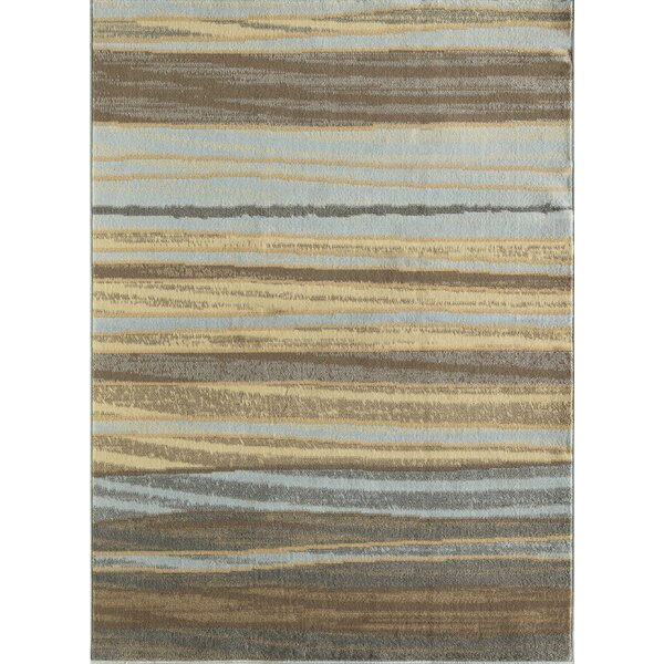 Nolasco Striped Blue/Gray Area Rug by Ebern Designs