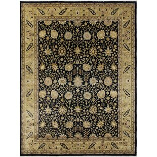 Find for One-of-a-Kind Romona Hand-Knotted Black Area Rug By Isabelline
