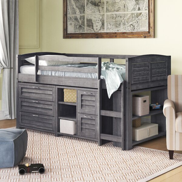 Evan Twin Loft Bed with Bookcase and Drawers by Birch Lane™ Heritage