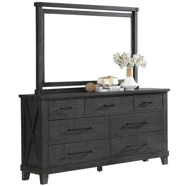 7 Drawer Double Dresser with Mirror by Gracie Oaks