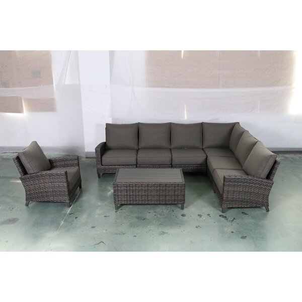 Rebeca 8 Piece Sectional Seating Group with Cushions by Bayou Breeze