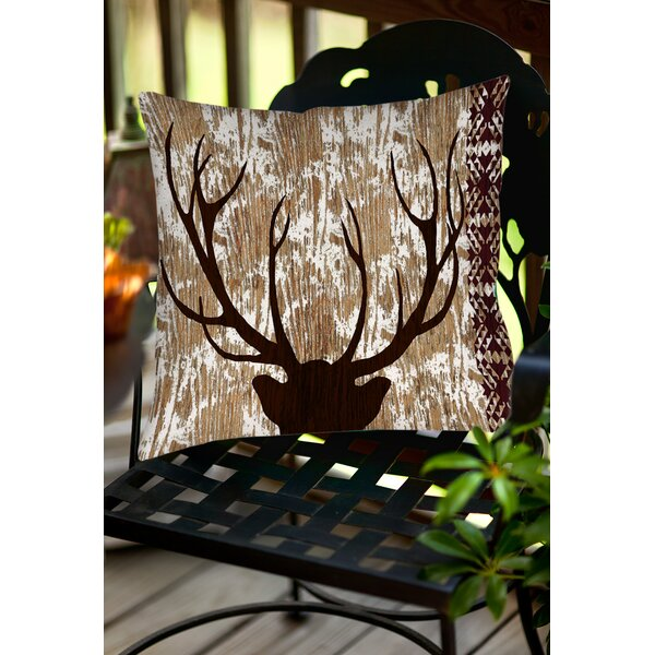 Square Deer Indoor/Outdoor Throw Pillow by East Urban Home