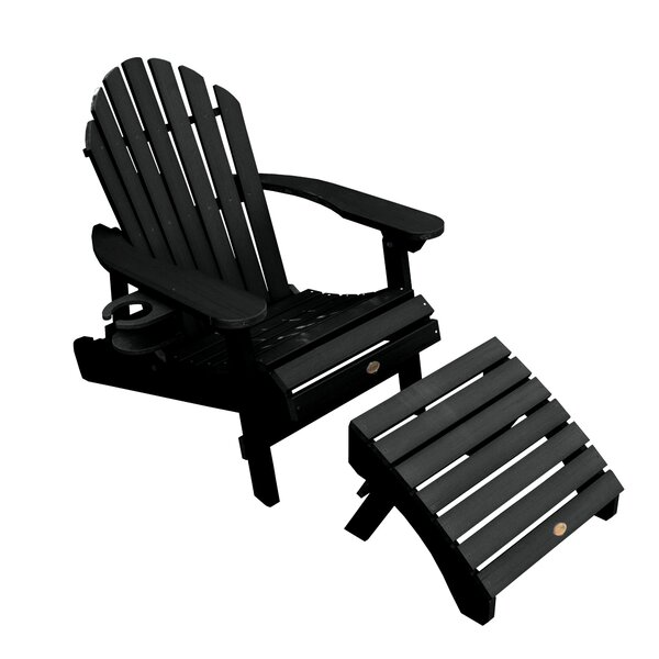 Camacho Plastic Folding Adirondack Chair with Ottoman by Longshore Tides