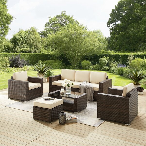 Antigona 7 Piece Rattan Sectional Seating Group with Cushions