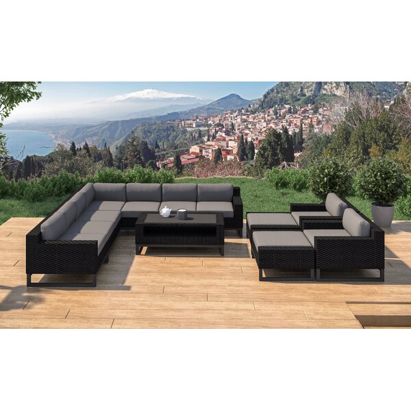 Stivers 12 Rattan Piece Sectional Seating Group with Cushions by Ebern Designs