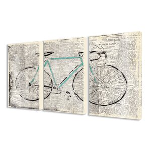 'Bicycle on Newsprint' Graphic Art Print Set Multi-Piece Image on Canvas by Trent Austin Design