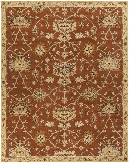 Queenswood Hand-Tufted Burnt Orange/Cream Area Rug by Charlton Home