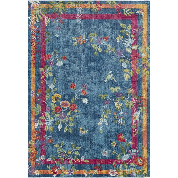 Lillo Vibrant Floral Blue/Magenta Area Rug by Bungalow Rose