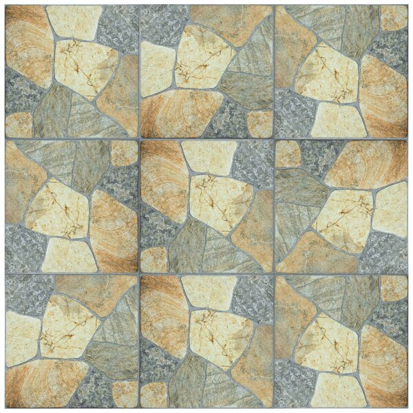 Isola 17.38 x 17.38 Porcelain Splitface Tile in Beige/Gray by EliteTile