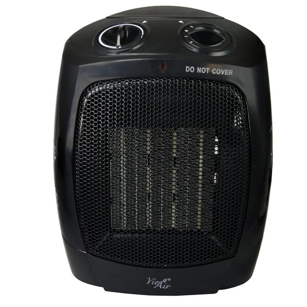 Portable 2 Settings Ceramic Office 1,500 Watt Electric Fan Compact Heater with Adjustable Thermostat by Vie Air