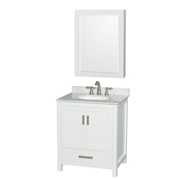 Sheffield 30 Single White Bathroom Vanity Set with Medicine Cabinet by Wyndham Collection