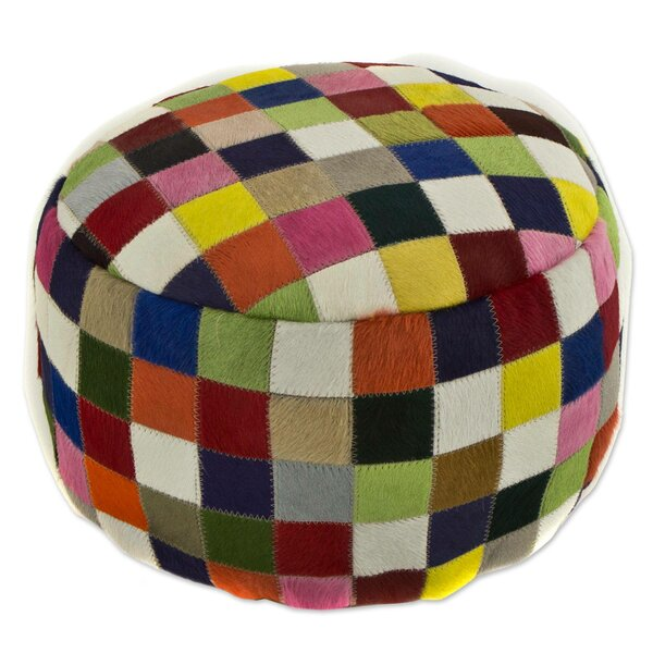 Cecille Festive Checkerboard Leather Pouf by Bloomsbury Market