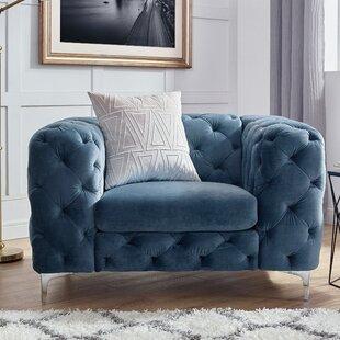 Superior Tufted Teal Chair | Wayfair