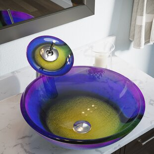 Best Price Rainbow Frost Glass Circular Vessel Bathroom Sink By MR Direct