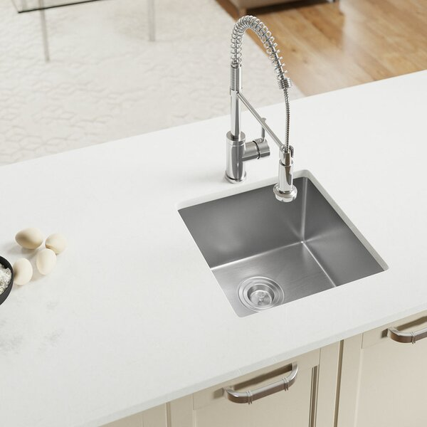 Stainless Steel 17 x 17 Undermount Kitchen Sink by MR Direct