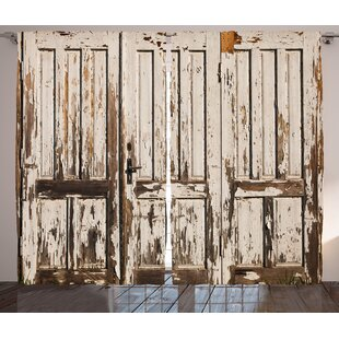 Bessie Rustic Vintage House Entrance With Vertical Lined Old Planks Distressed Hardwood Design Graphic Print Text Semi Sheer Rod Pocket Curtain Panels