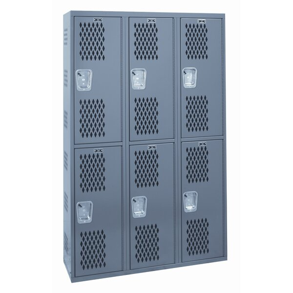 Welded 2 Tier 3 Wide Gym Locker by Hallowell