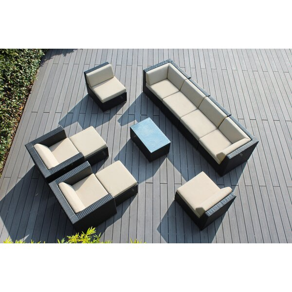 Baril 11 Piece Rattan Sunbrella Sofa Seating Group with Cushions by Wade Logan