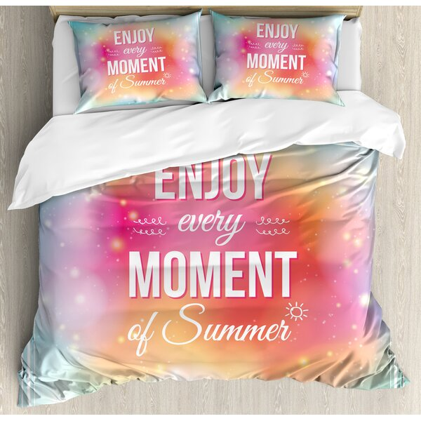 Inspirational Enjoy Every Moment of Summer Quote Background Artwork Duvet Set by Ambesonne