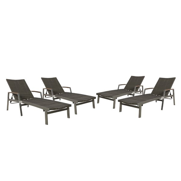 Leber Reclining Chaise Lounge (Set of 4) by Gracie Oaks