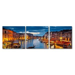 Baxton Studio Early Evening Venetian Canal 3 Piece Framed Photographic Print on Wrapped Canvas Set by Wholesale Interiors