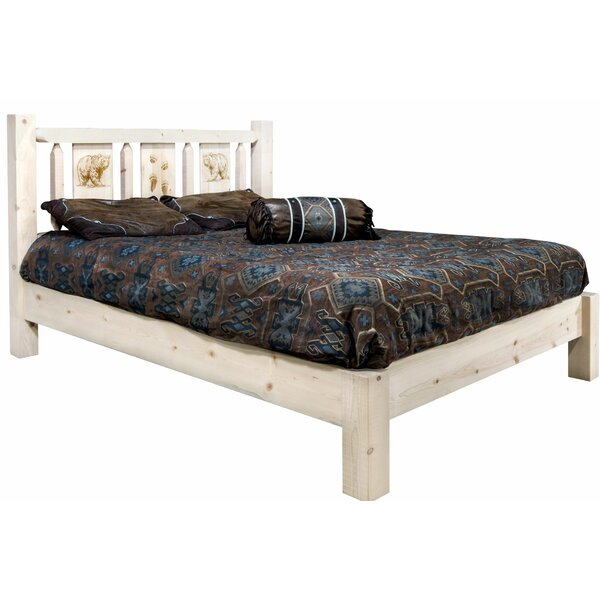 Tustin Laser Engraved Bear Design Platform Bed by Loon Peak