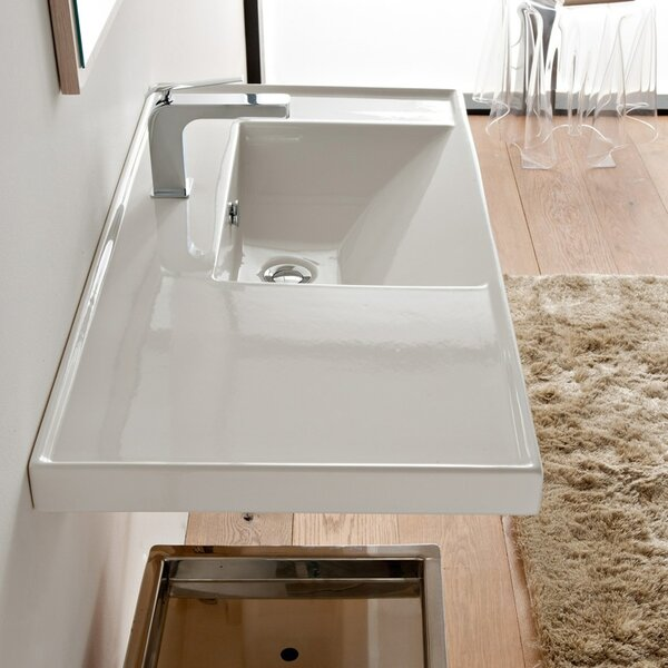 ML Glossy white Ceramic Rectangular Drop-In Bathroom Sink with Overflow