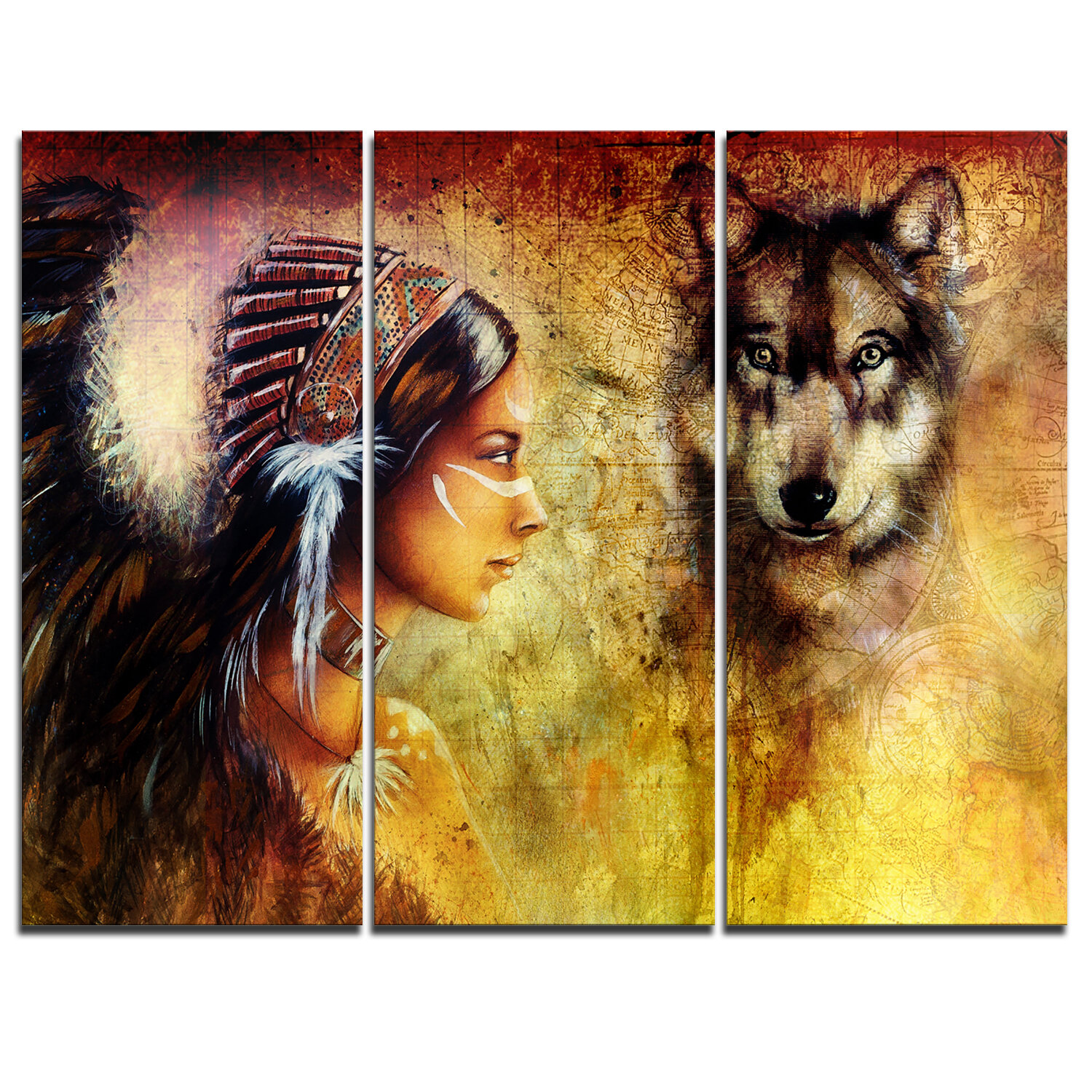 DesignArt Woman with Wolf - 3 Piece Graphic Art on Wrapped Canvas ...