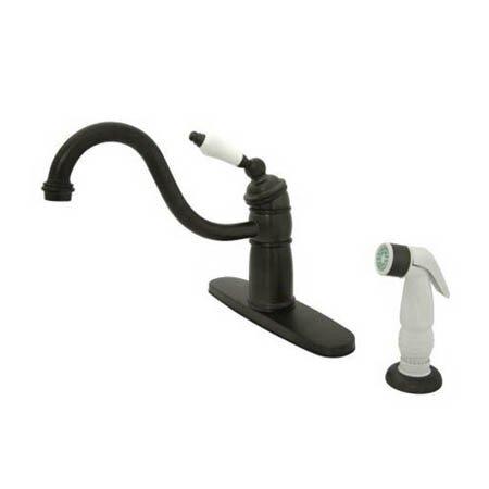 New Orleans Deck Mount Single Handle Centerset Kitchen Faucet with Porcelain Lever Handles by Elements of Design
