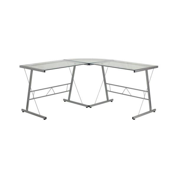 Dezirae Glass L-Shape Writing Desk by Ebern Designs