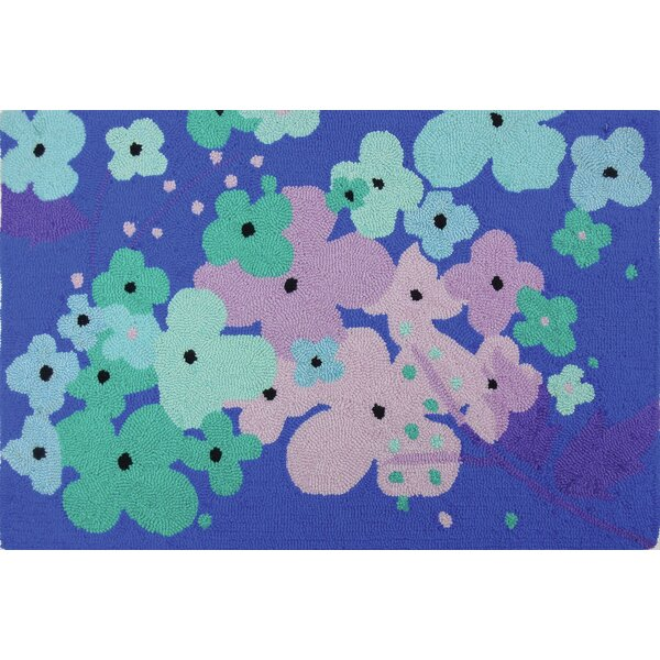 Donnellan Flowers Blue Turquoise Area Rug by Ebern Designs