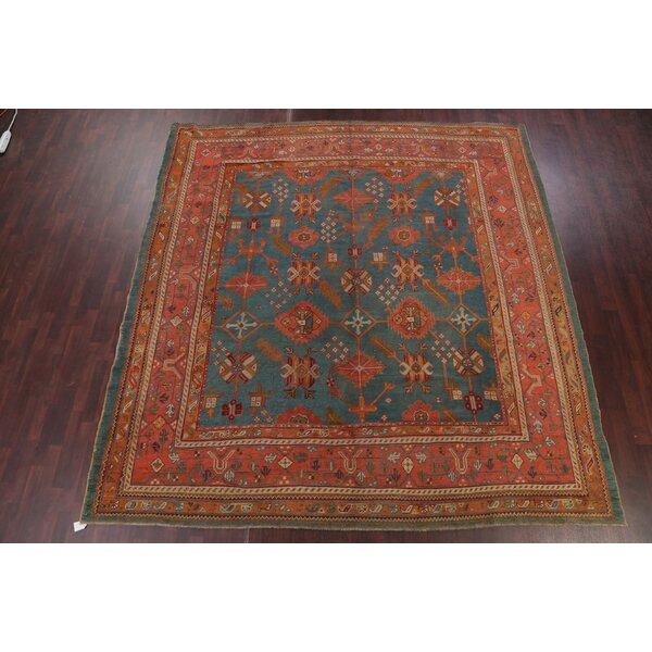 One-of-a-Kind Ricarda Hand-Knotted Before 1900 Red/Navy 10'11 x 11'5 Wool Area Rug