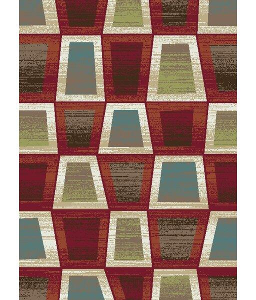 Leandro Geometric Red/Green Area Rug by Latitude Run