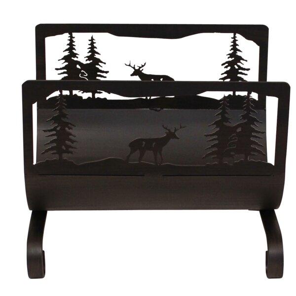 Deer Scene Wood Log Carrier By Coast Lamp Mfg.