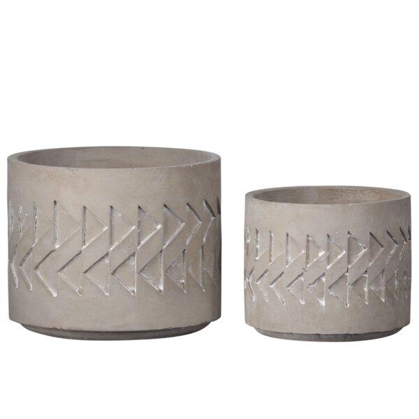 Cann Round 2 Piece Cement Pot Planter Set by Union Rustic