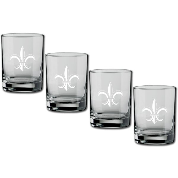 Chumley Fleur de Lis Double Old-Fashioned 14 oz. Crystal Cocktail Glass (Set of 4) by Fleur De Lis Living