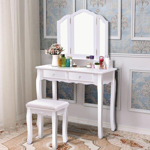 Konieczny Makeup Vanity Set with Mirror by Winston Porter