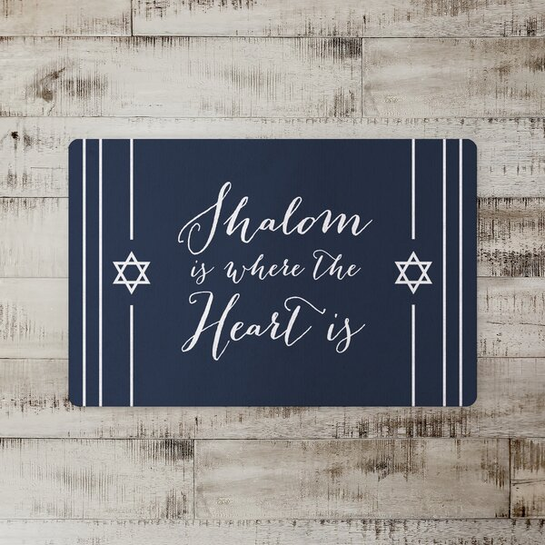 Dingle Shalom Is Where the Heart Is Kitchen Mat