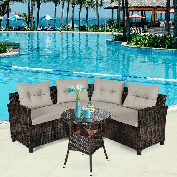 Laketon 4 Piece Rattan Sectional Seating Group with Cushions by Ebern Designs