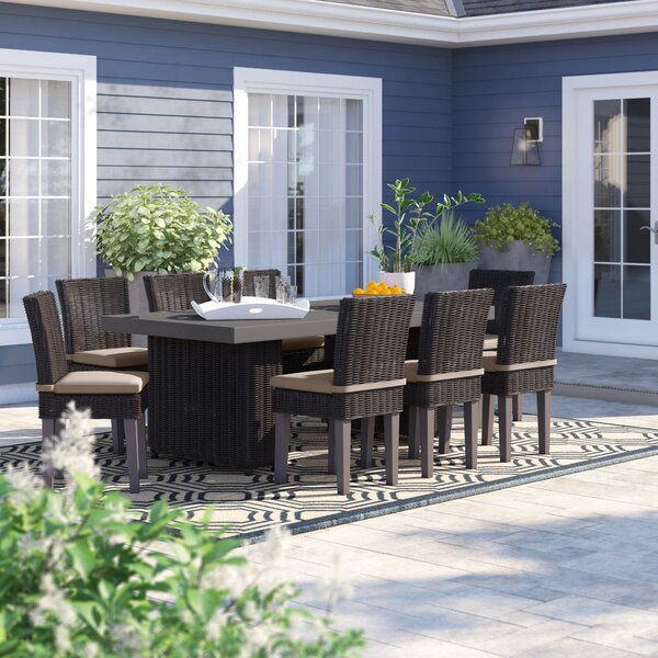 Fairfield 9 Piece Outdoor Patio Dining Set with Cushions by Sol 72 Outdoor