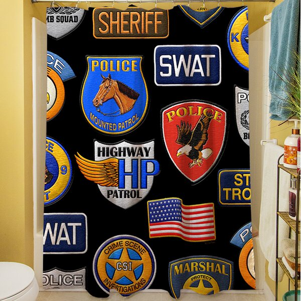 Police Patches Shower Curtain by Manual Woodworkers & Weavers