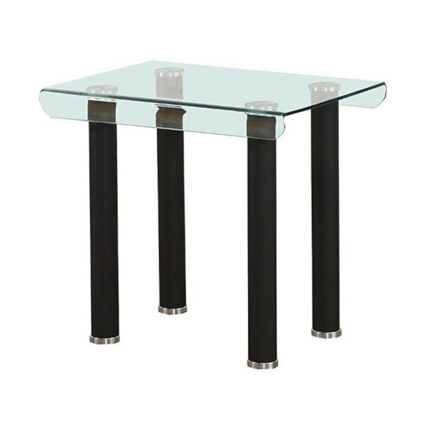 Silverhill Tempered Glass Top Metal Feet End Table by Orren Ellis