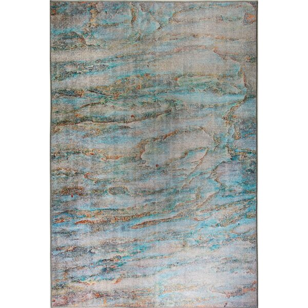 Brody Turquoise Area Rug by Ebern Designs