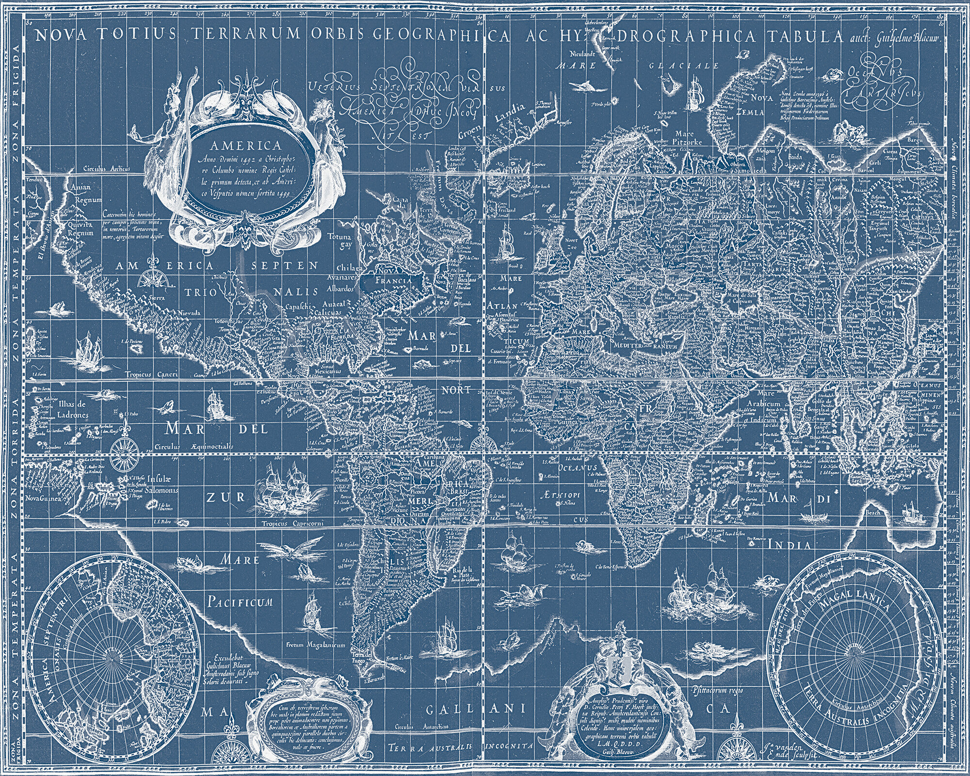 stupell industries vintage blueprint world map graphic art on canvas