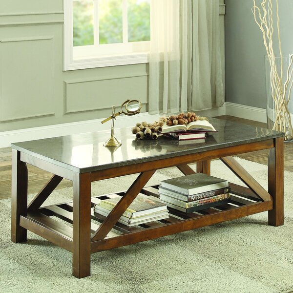 Ashby Coffee Table, Bluestone Marble by Homelegance