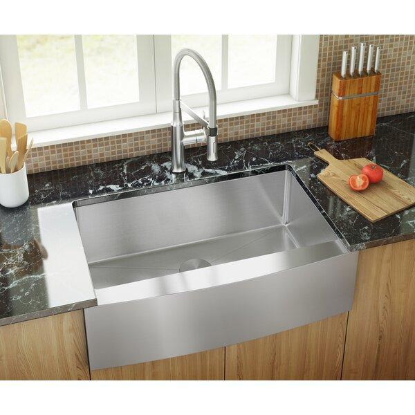 30 L x 21 W Farmhouse/Apron Kitchen Sink With Basket Strainer