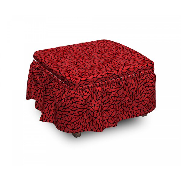 Abstract Grid 2 Piece Box Cushion Ottoman Slipcover Set By East Urban Home