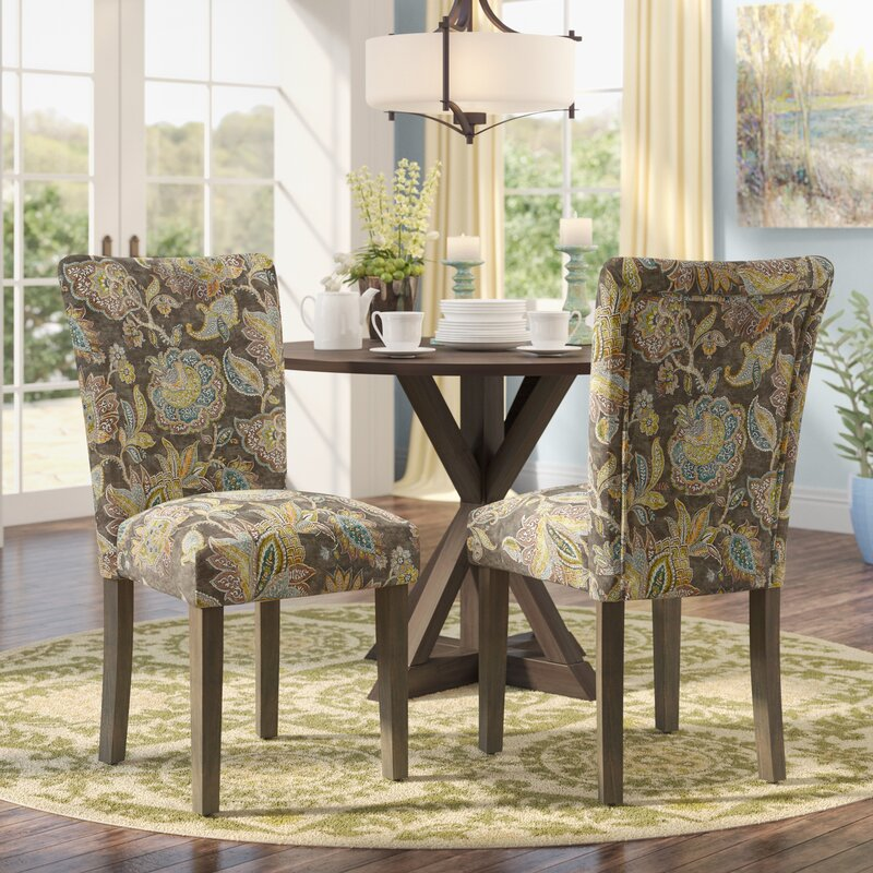 Ordinaire Champaign Floral Upholstered Dining Chair