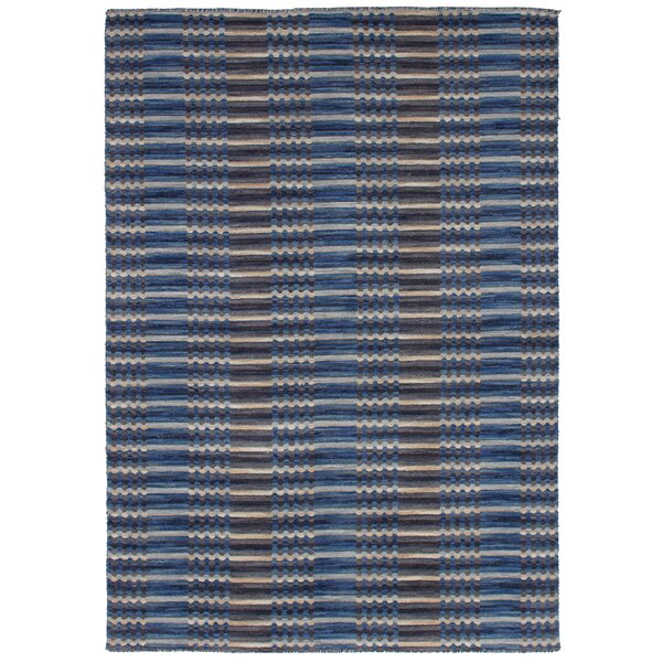 One-of-a-Kind Eibhlin Hand-Knotted Wool Blue Area Rug by Isabelline
